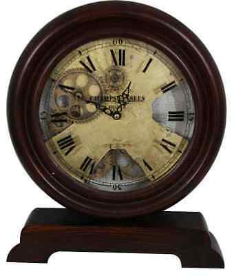 Champs Elysee France Antique Wooden Gear Table Clock.