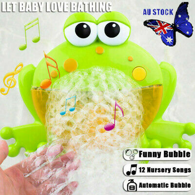 Baby Kids Bubble Frog Crab Automatic Shower Machine Blower Maker Bath Music Toy