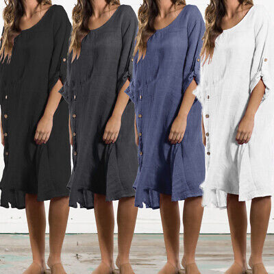 AU Women Casual Cotton Linen Long Sleeve Plus Size Kaftan Party Long Shirt Dress