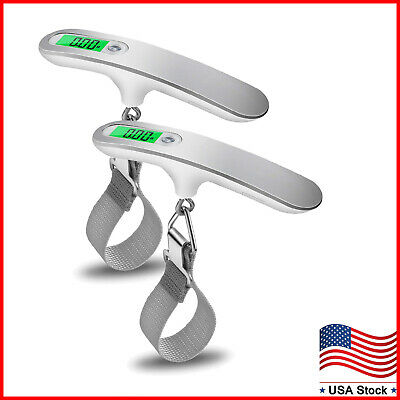 2 Pack Portable Travel LCD Digital Hanging Luggage Scale Weight 110lb / 50kg