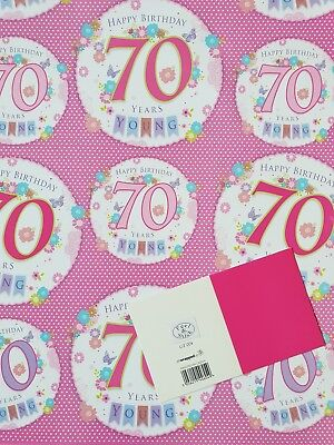 5 Sheets Of Good Quality Glossy 70Th Birthday Wrapping Paper Pink Gift Tag