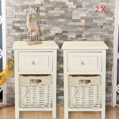 Pair of Wooden Bedside Tables Shabby Chic White Drawers & Wicker Basket CabinetA