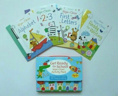Usborne Wipe Clean Get Ready For School Activity Pack Ages 3+ New Birthday Gift