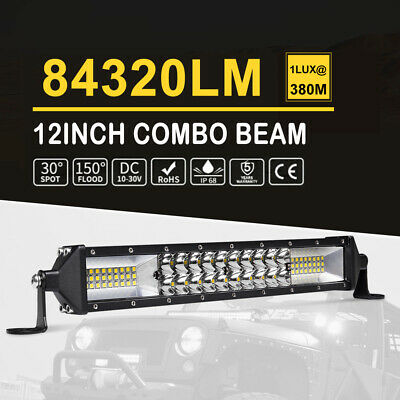 10Inch LED Light Bar 544W Dual Rows Spot Flood Combo Driving Offroad SUV Lamp AU
