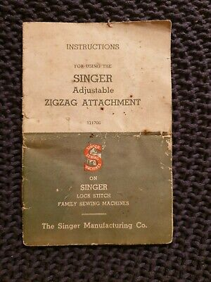 Singer Adjustable Zigzag Attachment Instruction Booklet - 1939