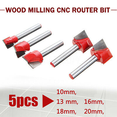 5Pcs 10-20mm CNC Surface Planing Bottom Cleaning Milling Router Bit Cutter Shank