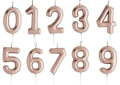 CANDLES Rose Gold Metallic Number 0 1 2 3 4 5 6 7 8 9 Birthday Party