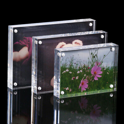 5/6/7inch Freestanding Polished Clear Acrylic Magnetic Picture Photo Frame Well