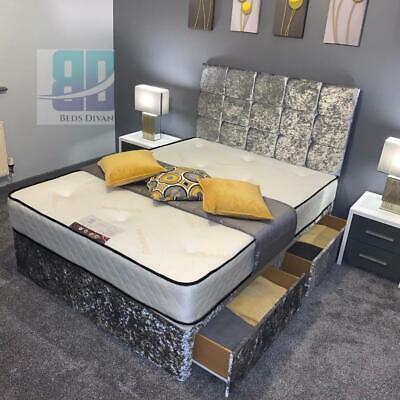 Divan Bed Memory Orthopedic Crushed Silver Velvet Set With Headboard