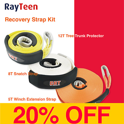 8T Snatch Strap, 12T Tree Trunk Protector, 5T Winch Extension Recovery Strap