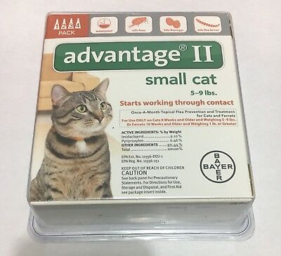 Bayer Advantage II for Small Cats 5-9 Lbs - 4 Pack, free shipping!