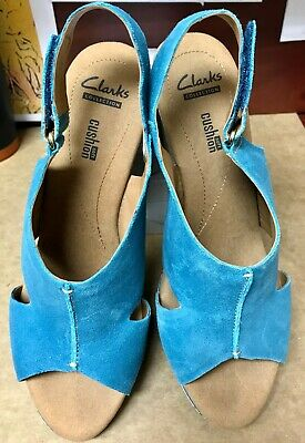 bae990cc9612 Clarks Women s Shoes Sz 9.5 Helio Float4 Blue Suede Wedge Sandal Platform  Heels