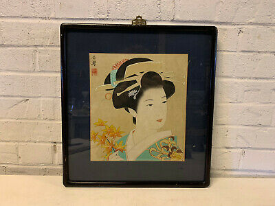 Vintage Possibly Antique Japanese Signed Painting Geisha Girl Holding Leaves