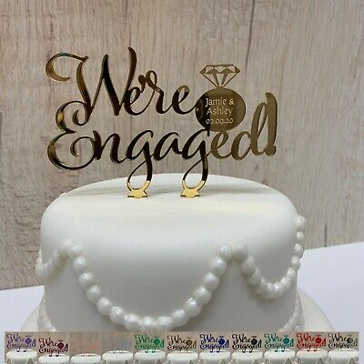 We're Engaged Personalised Cake Topper Engagement Ring Party Decorations Acrylic