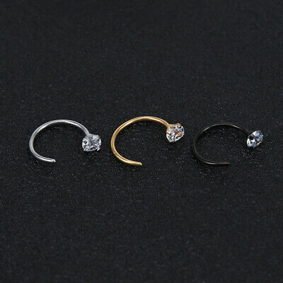 3 Colour 2 Size Surgical Steel Open Nose Lip Hoop CZ Ring Thin 20G Piercing UK