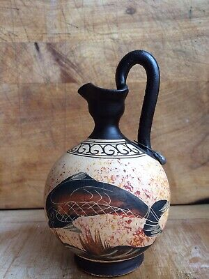 Greek God (winged)& Dolphin Wine jug   Urn Museum Replica Handmade Ceramic 480bc