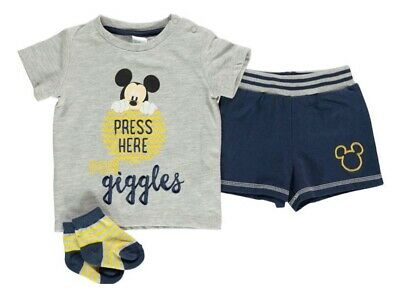 NEW Disney Baby Boys Summer Outfit Mickey Mouse Top Shorts & Socks Set Holiday