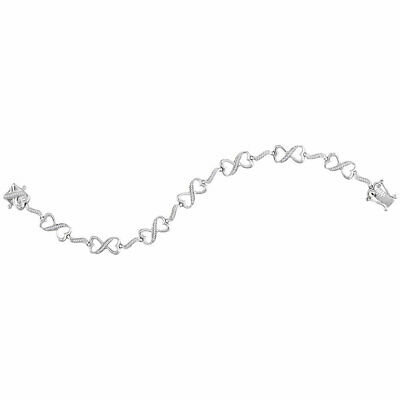 Sterling Silver Womens Round Diamond Infinity Fashion Bracelet 1/4 Cttw