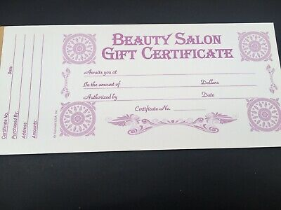 Gift voucher certificate book for beauty/hair/nails spa salon