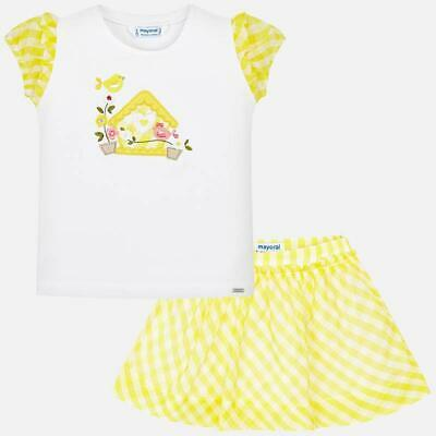 Mayoral Girl Gingham Skirt Set In Yellow (3959-069) Aged 2-8 Yrs