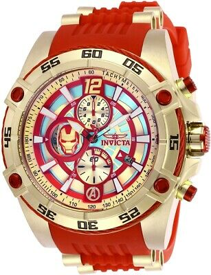 Invicta 26796 Marvel Men's 52mm Chronograph Gold-Tone Gold Dial Red Watch