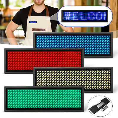 Mini LED Digital Programmable Scrolling Name Message Tag Badge Sign 4 Colors