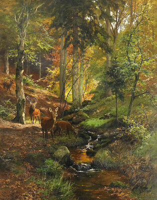 Handmade Oil Painting repro Heinrich Böhmer Deer in the Forest
