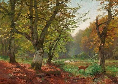 Handmade Oil Painting repro Heinrich Böhmer Roebuck on a Forest lake