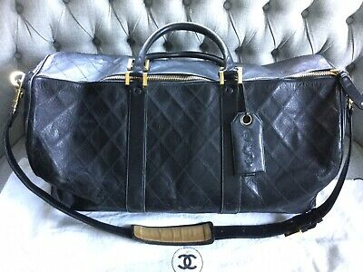 671ff18ee0ce CHANEL Travel Bag Boston Duffle Weekender XXL Black Quilted Lambskin Leather