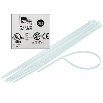 "Jumbo 24"" 36"" 48"" Usa Industrial White Wire Cable Zip Ties Uv Nylon Tie Wraps"
