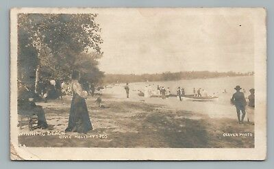 Winnipeg Beach—Civic Holiday RPPC Winnipeg—Rare Antique Photo ALGERIA Post 1905