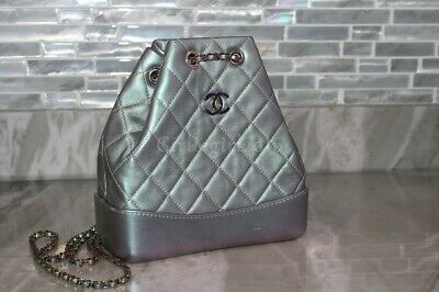 fd007fb82565 Authentic Chanel Gabrielle Small Backpack Iridescent Purple Rainbow Bag