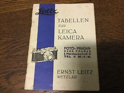 1935 TABLES FOR LEICA LEITZ WETZLAR VINTAGE CAMERAS - in German
