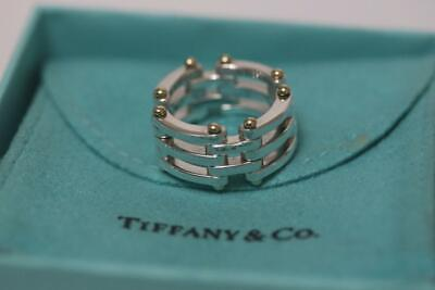 472367f51 Vintage Tiffany & Co. 925 Sterling Silver 18K Yellow Gold Gatelink Ring  Size 7