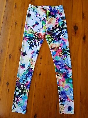 WITCHERY 8 FOURTEEN Bright Multi-Coloured Floral Girls Leggings Size 12