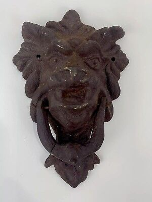 Antique Cast Iron Werewolf Door Knocker Lion Head Architectural Reclaimed Repai