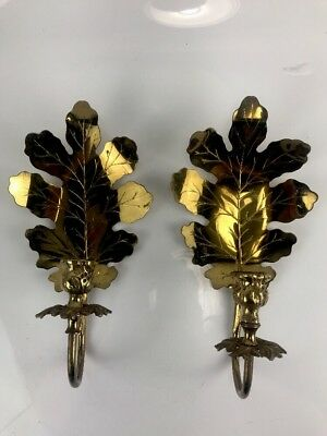 Pair Set 2 Large Hollywood Regency Golden Brass Sconce Leaf Wall Candle Holders