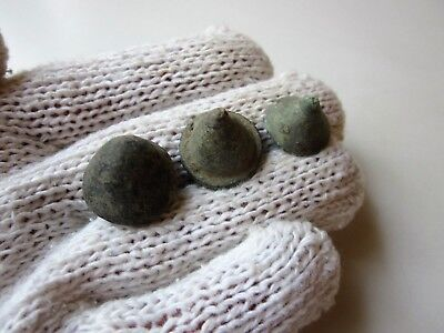 Lot of 3 ancient Roman bronze game legionary knuckle gaming pieces 1-2AD.