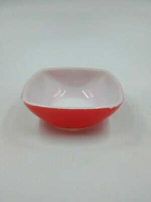 Vintage Red white pyrex ovenware bowl B 11 small 12 oz. 5in.