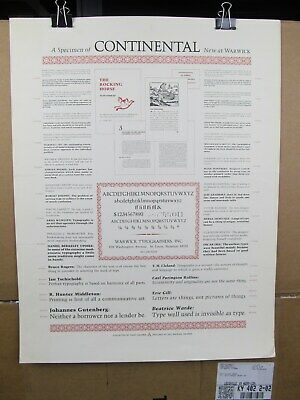 Type Specimen Broadside of Continental, Warwick Typographers, Kay Kramer Design