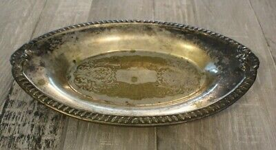 Vtg Silver Plated Silverplated Oval Bread Serving Tray Sheridan AS IS