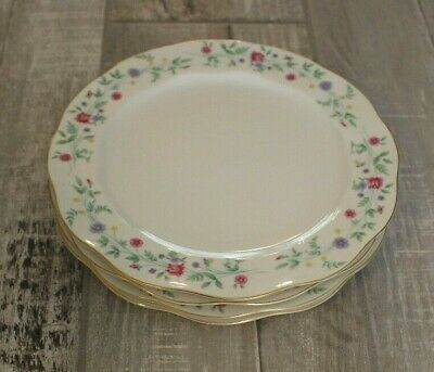 Set Lot of 4 Luncheon Salad Plates Ophelia Pink Blue Yellow Flowers Spring Japan