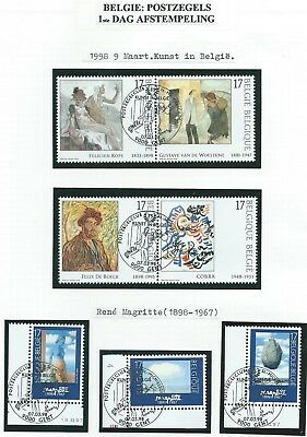 1998 two sets of (4+3) Belgian art stamps with first day cancels