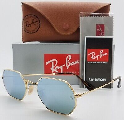 dde88b70381 NEW Rayban Octagonal sunglasses Gold Silver Mirror RB3556N 001 30 53mm  AUTHENTIC