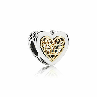 New Authentic Pandora Charms 925 Sterling Silver Gold Heart Bracelet Charm Bead