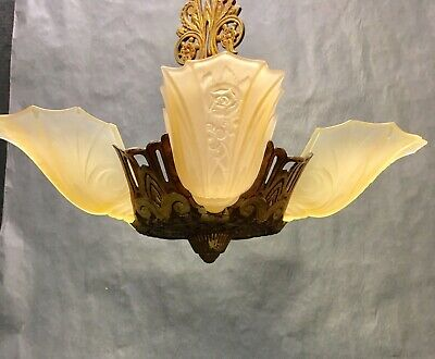 1929's Art Deco Chandelier With Slip Shades