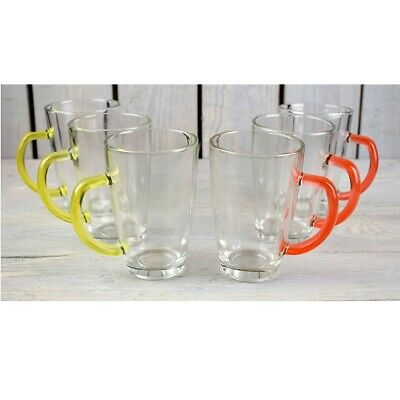 Set Of 6 Latte Cafe Glasses 300 ml With Orange & Yellow Handles