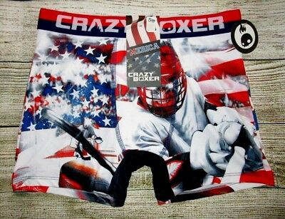 Mens Crazy Boxer Stars & Stripes Hockey Boxer Brief Size M