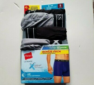 Small Hanes Men's Ultimate X-Temp Air Boxer Briefs, Black/Gray Free Shipping