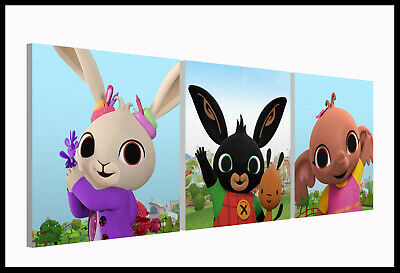 BING BUNNY (501) - Nursery Bedroom - Set of 3 Square Canvas Pictures Prints